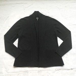 Eileen Fisher Gray Open Front Merino Wool Cardigan
